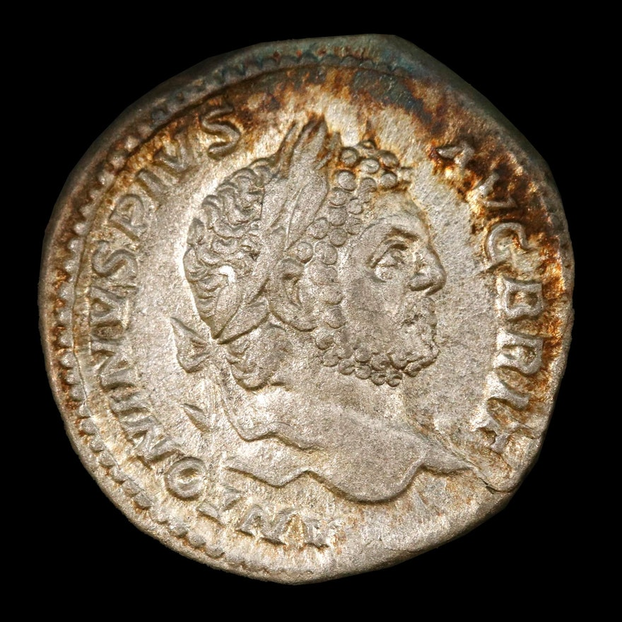 Ancient Roman AR Denarius of Caracalla, 198-217 A.D.