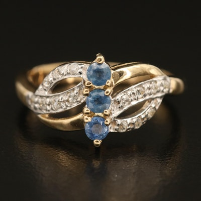 Sterling Sapphire and Zircon Openwork Ring
