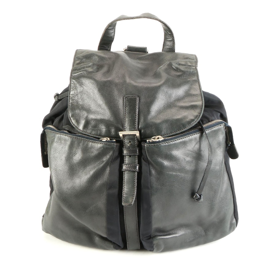 Prada Double Pocket Backpack Bag B8491 in Nylon and Leather