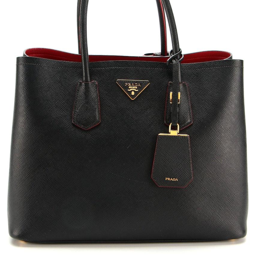 Prada Large Double Bag in Black Saffiano Leather