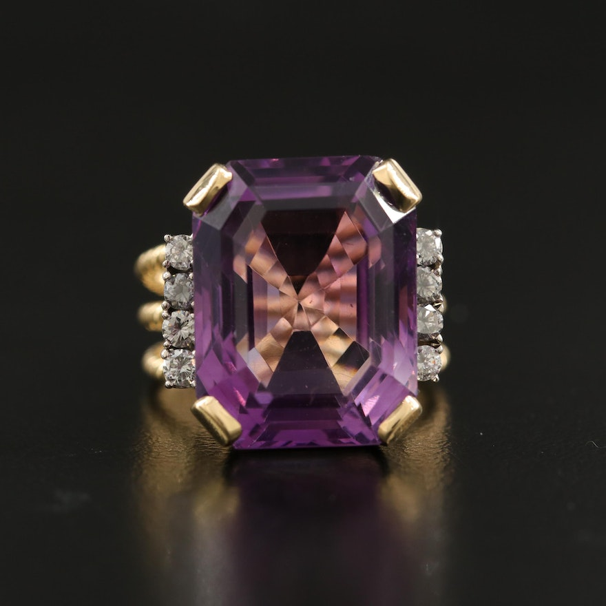 18K 19.50 CT Amethyst and Diamond Twisted Rope Ring