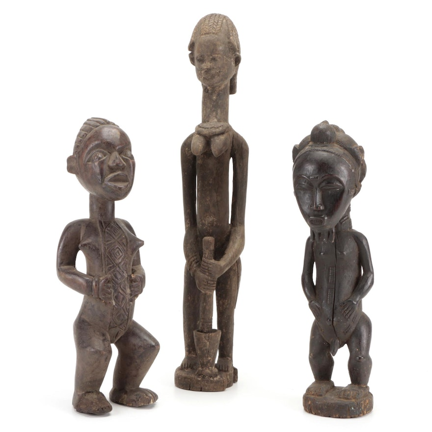 Baule Style Carved Wood Figure With More African Sculptures