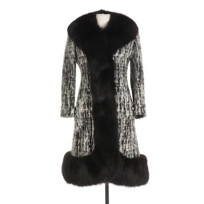 Fox Fur Trimmed Wool Knit Coat From Chudiks