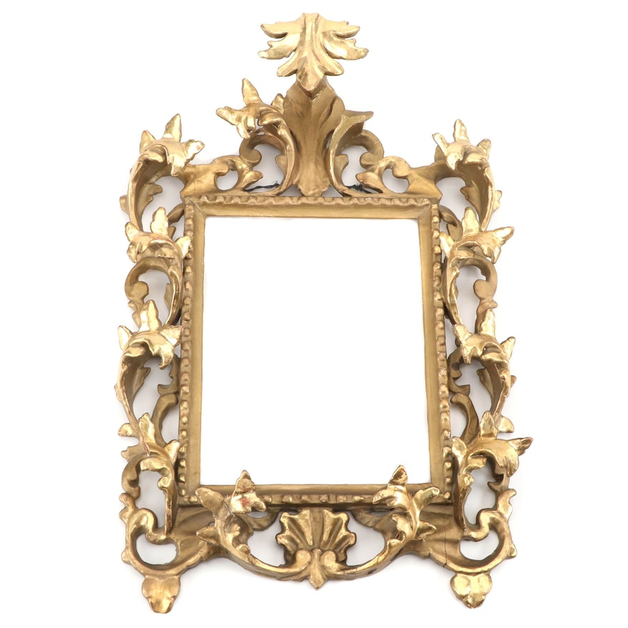 Rectangular Giltwood and Gesso Hanging Frame, Early to Mid 20th Century
