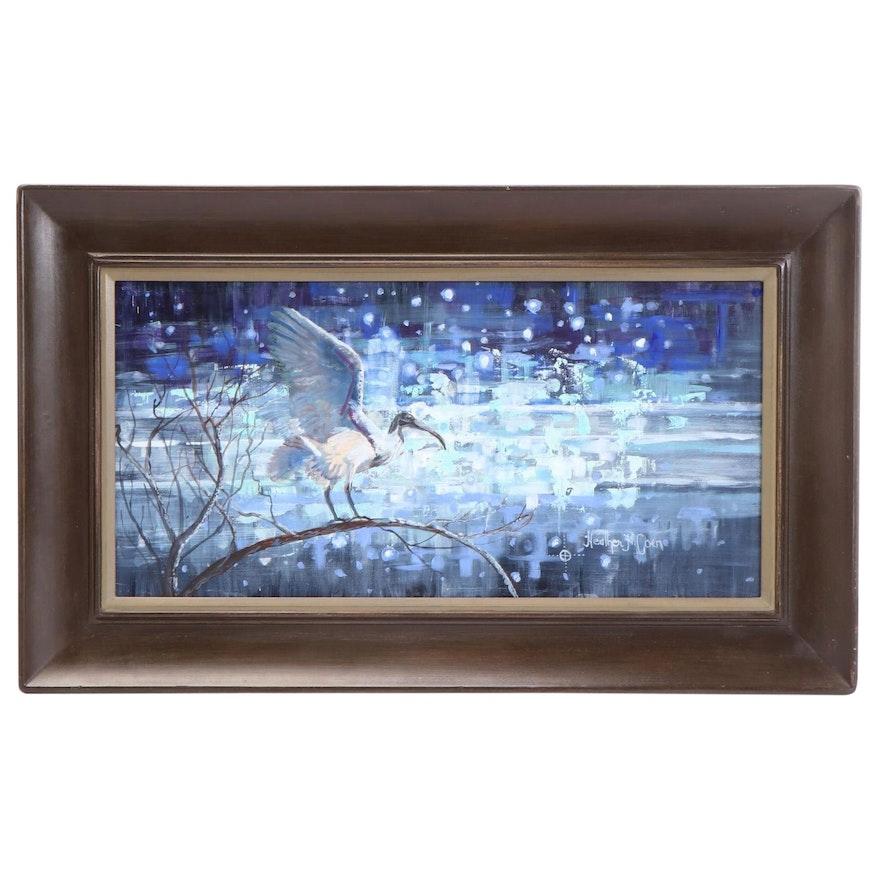 "Heather Coen Oil Painting ""Ibis,"" Late 20th Century"