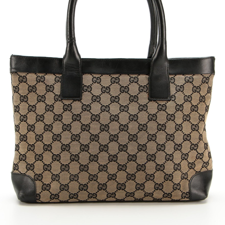 Gucci Tote in GG Canvas with Black Leather Trim