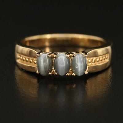 Sterling Cat's Eye Chrysoberyl Three Stone Ring