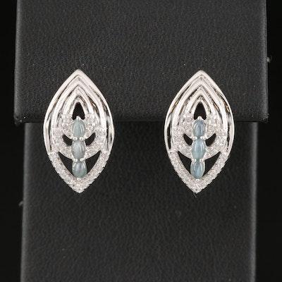 Sterling Silver Cat's Eye Alexandrite and White Zircon Navette Earrings