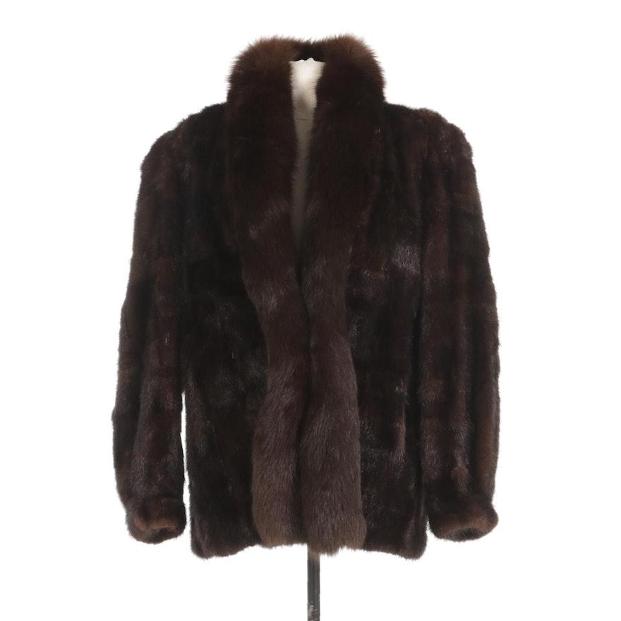 Mahogany Mink Fur Coat with Dyed Fox Fur Tuxedo Collar