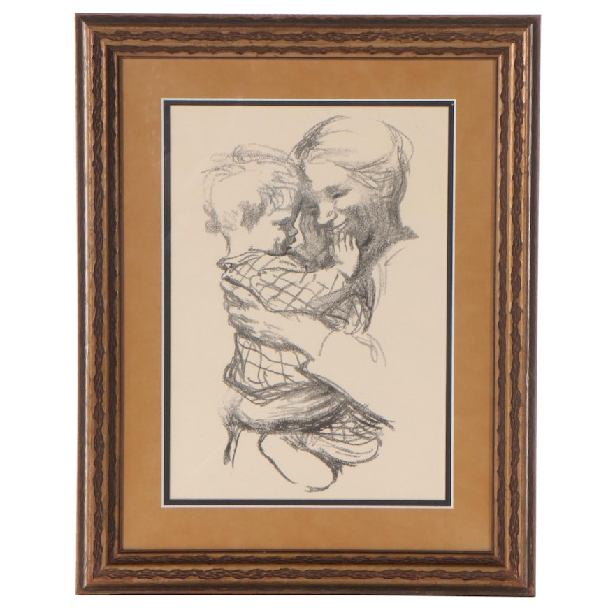 """Lithograph After Käthe Kollwitz """"Mother with a Child in her Arms"""""""