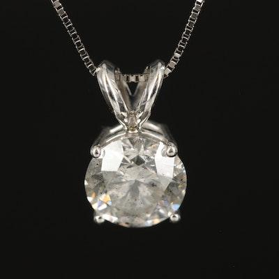 14K 1.50 CT Diamond Solitaire Pendant Necklace