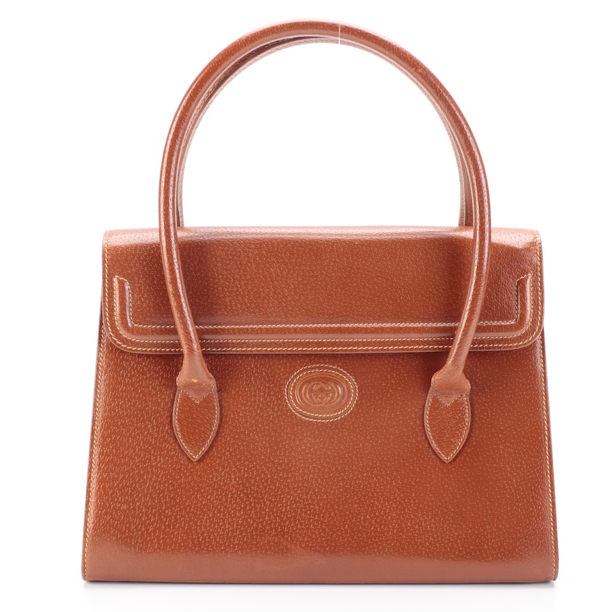 Gucci Top Handle Structured Bag in Rust Leather