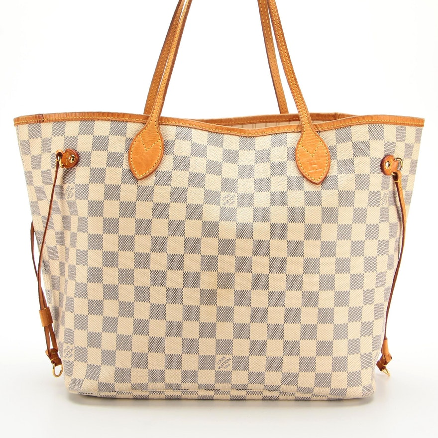 Louis Vuitton Neverfull MM Tote in Damier Azur Coated Canvas