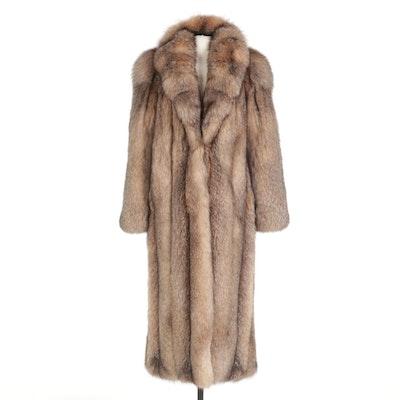 Full Skin Crystal Fox Fur Full-Length Coat