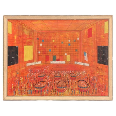 Nicola Ortis Poucette New York Stock Exchange Oil Painting, circa 1960