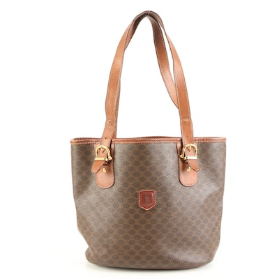 Celine Shoulder Tote in Macadam Canvas with Leather Trim