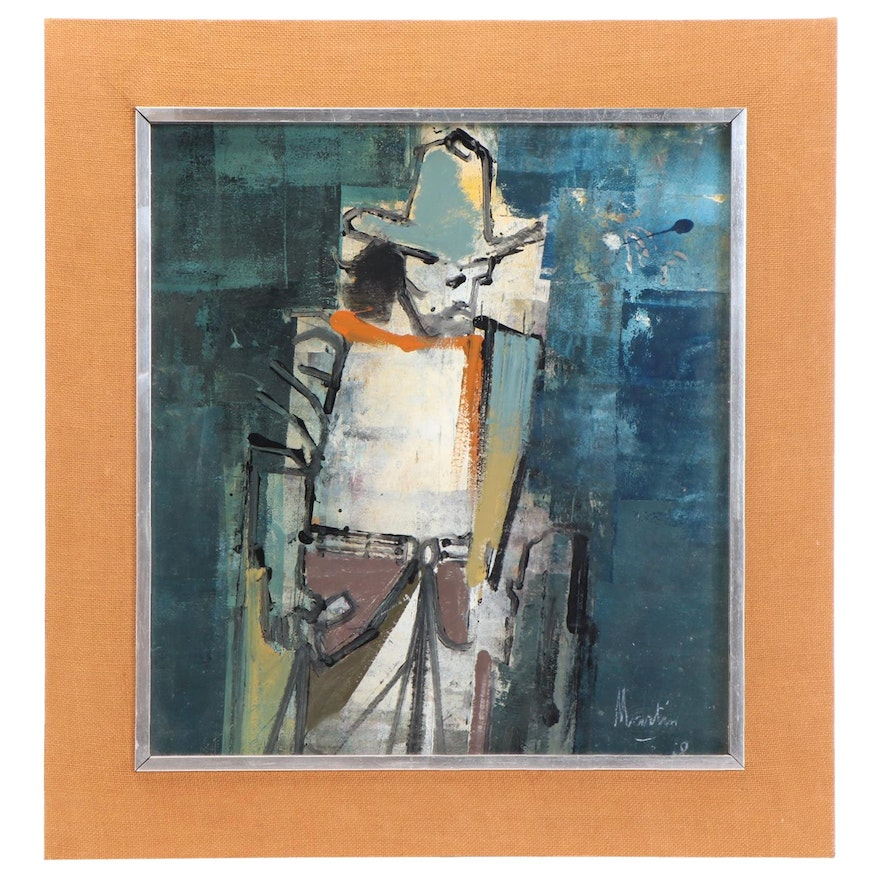 James Martin Abstract Oil Painting of Cowboy, 1978