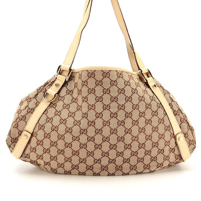 Gucci Abbey Shoulder Bag in GG Canvas with Leather Trim