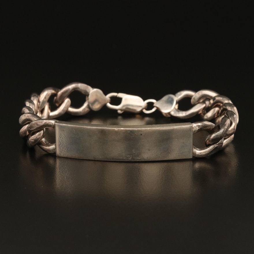 Sterling Curb Chain ID Bracelet