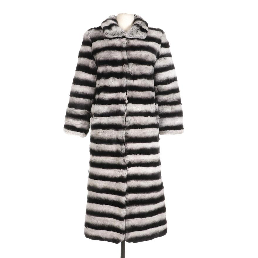 Chinchilla Dyed Rex Rabbit Fur Full-Length Coat