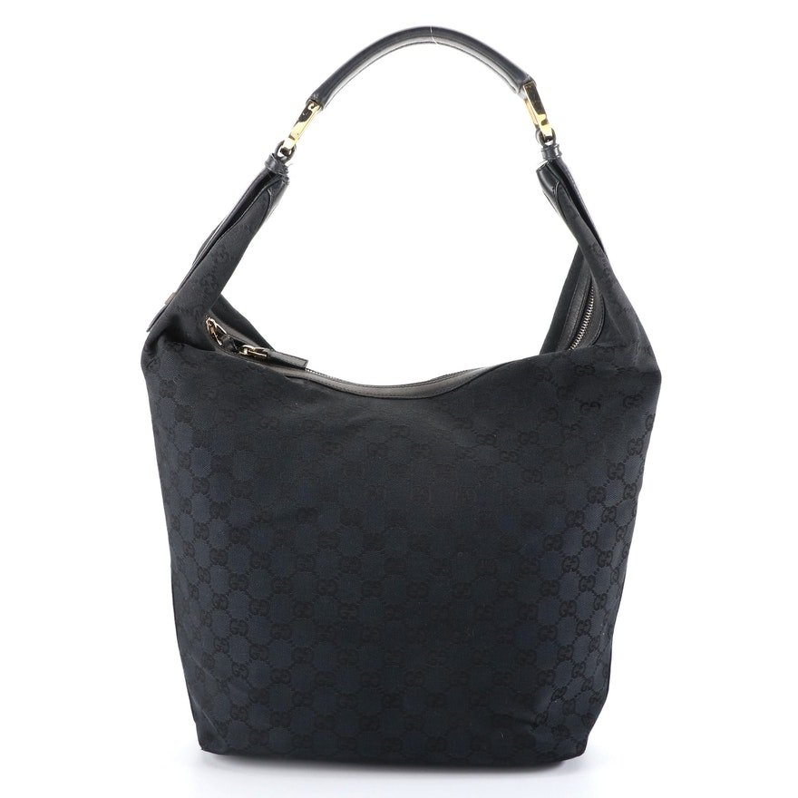 Gucci Hobo Shoulder Bag in Black GG Canvas and Leather