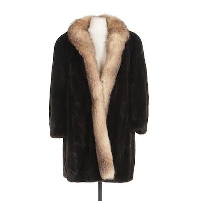 Mahogany Mink Fur Coat With Crystal Fox Fur Trim