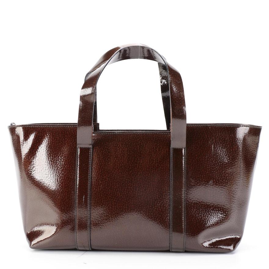 Gucci Shoulder Tote in Dark Brown Glazed Leather