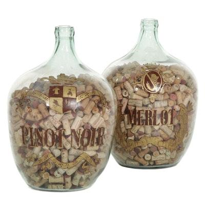 Restoration Hardware Pinot Noir and Merlot Glass Wine Jugs with Corks