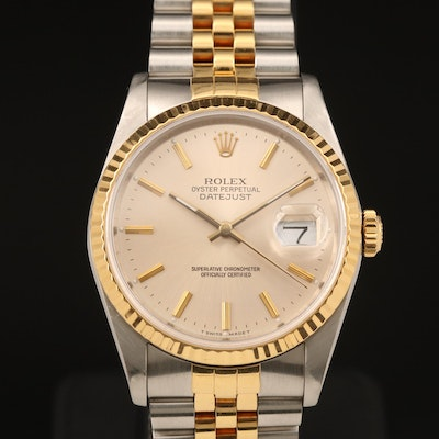 1988 Rolex Datejust 16233 18K Gold and Stainless Steel Automatic Wristwatch