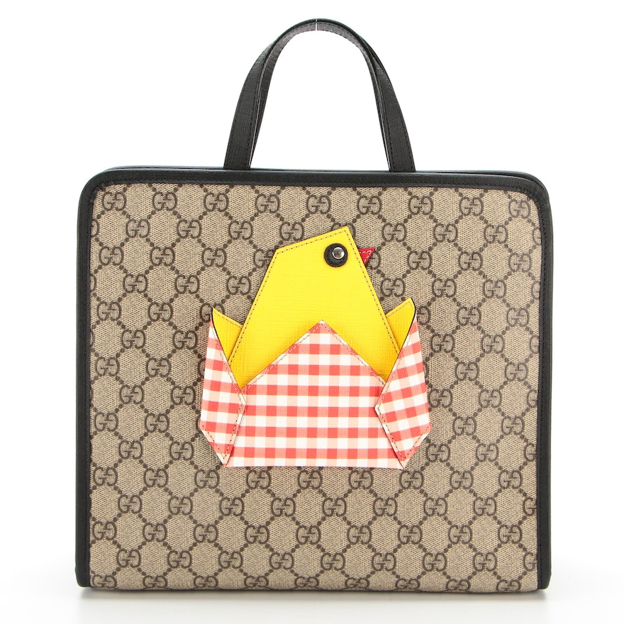 Children's Gucci Tote Bag with Chick Appliqué in GG Supreme Canvas and Leather