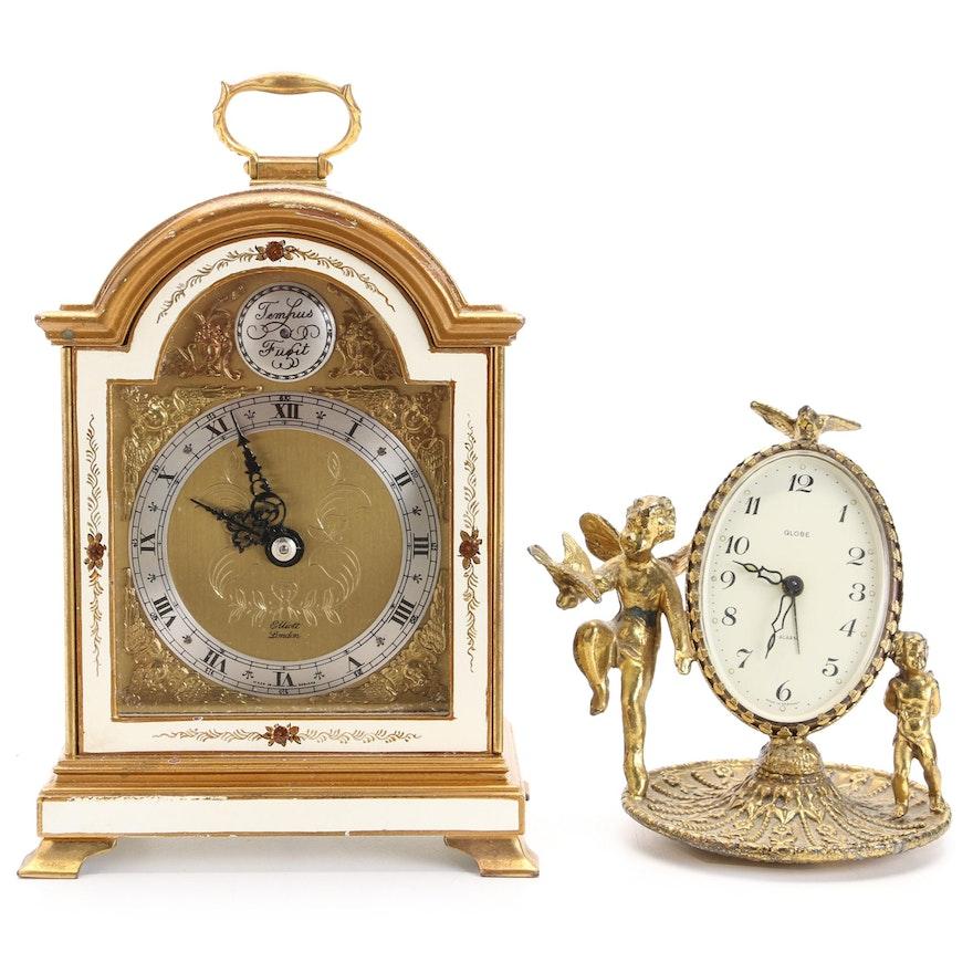 Elliott London Chinoiserie  Bracket Clock with Globe Brass Cherub Desk Clock