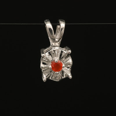 Sterling Fire Opal Solitaire Pendant