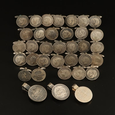 George VI and Other Coin Themed Cufflinks and Tie Clips