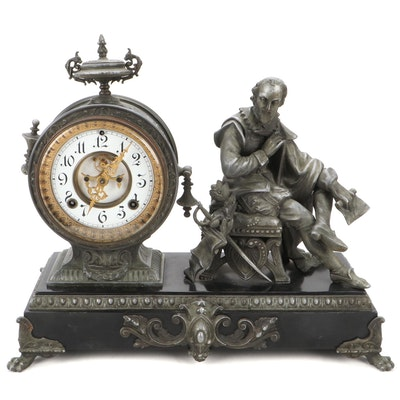 Ansonia Clock Co. Spelter Shakespeare Figural Mantel Clock, 1882