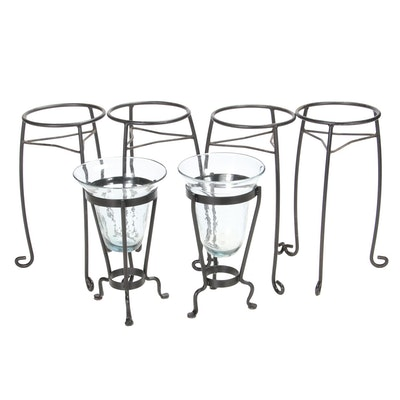 Wrought Iron Planter Stands with Blown Glass Vessels in Stands