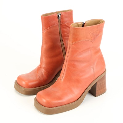Harley-Davidson Block Heeled Leather Ankle Boots