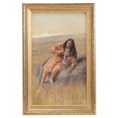 Thomas Corwin Lindsay Oil Painting of Indigenous Person