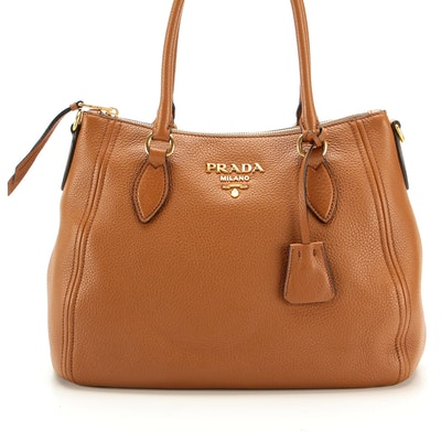 Prada Convertible Zip Bag in Cannella Vitello Phenix Leather