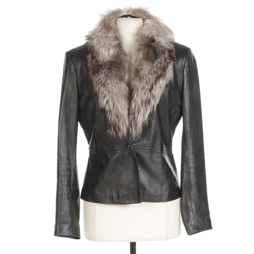 Caché Leather Jacket with Removable Fox Fur Collar