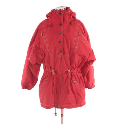 Bogner Embroidered Hooded Ski Jacket in Red with Contrast Stitching
