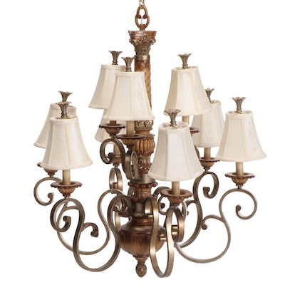 Aged and Bronzed Metal and Composite Nine-Light Chandelier with Shades