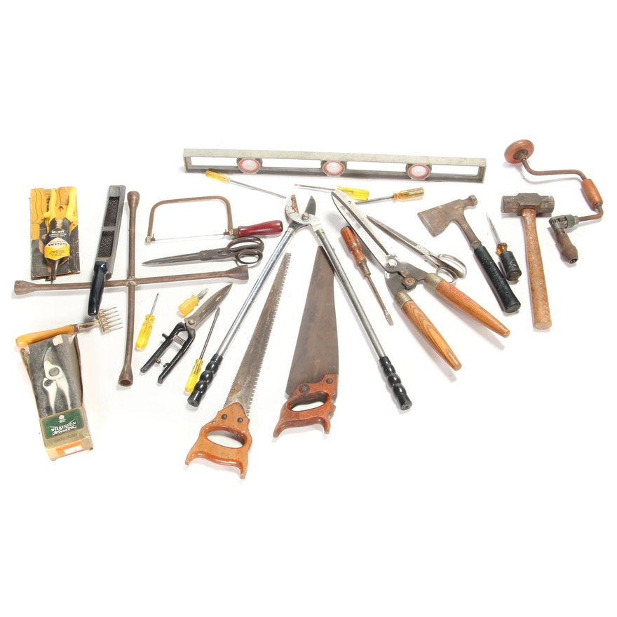 Hand Tools Including Level, Saws, Screwdrivers and Clippers