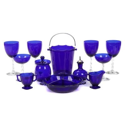 Cobalt Blue Glass Serveware and Stemware