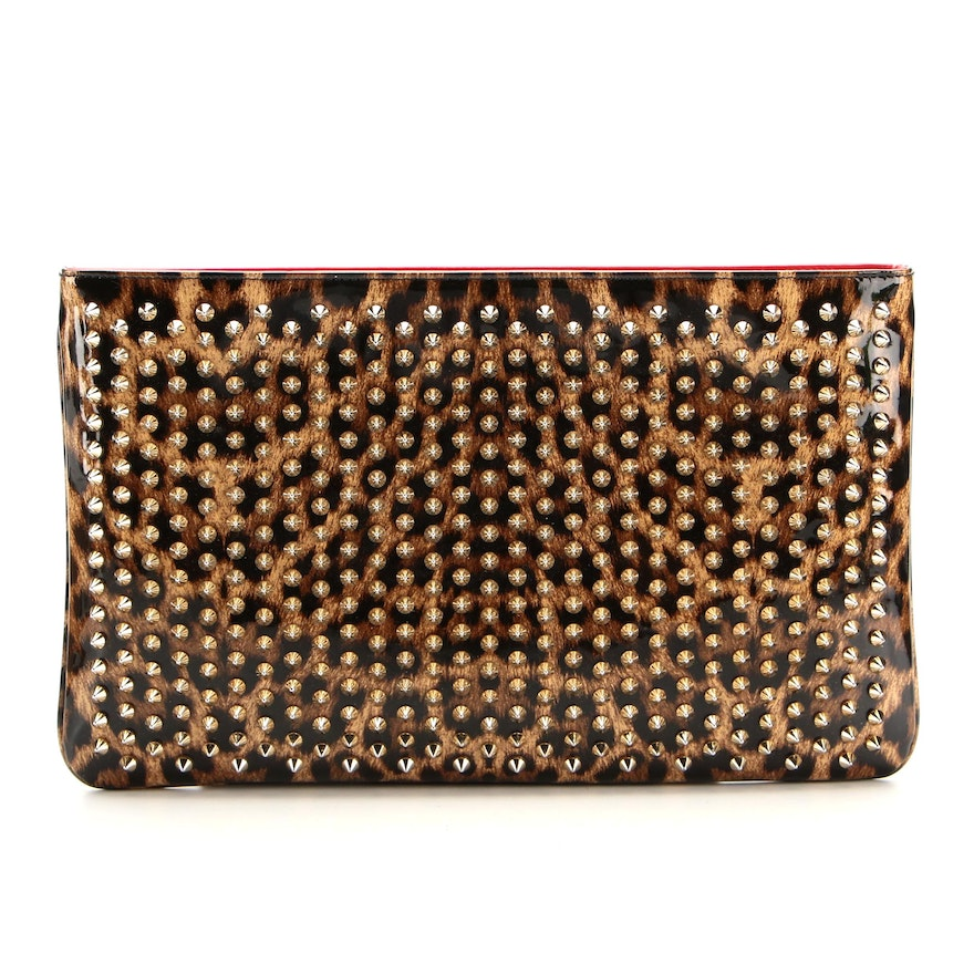 Christian Louboutin Loubiposh Spiked Clutch in Leopard Print Patent Leather