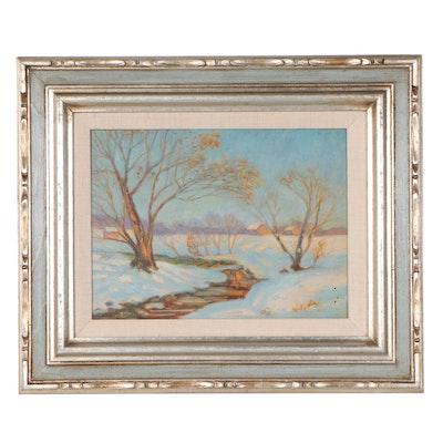 Louise M. Kamp Winter Landscape Oil Painting, Mid-20th Century