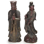 Chinese Carved Wood Emperor and Empress Statuettes