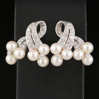 14K 1.52 CTW Diamond and Pearl Earrings