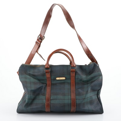 Polo Ralph Lauren Duffel Bag in Blackwatch Plaid Coated Canvas with Leather Trim