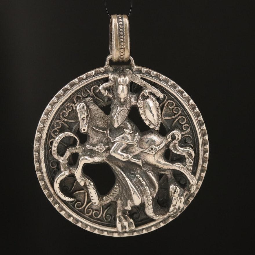 Sterling Slaying Dragon Pendant