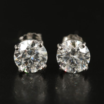 Platinum 2.05 CTW Diamond Earrings with IGI Reports